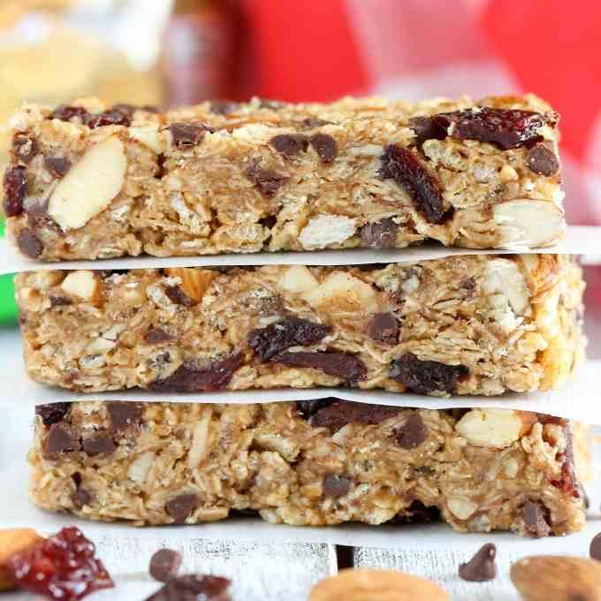 No-Bake Chocolate Cherry Almond Granola Bars