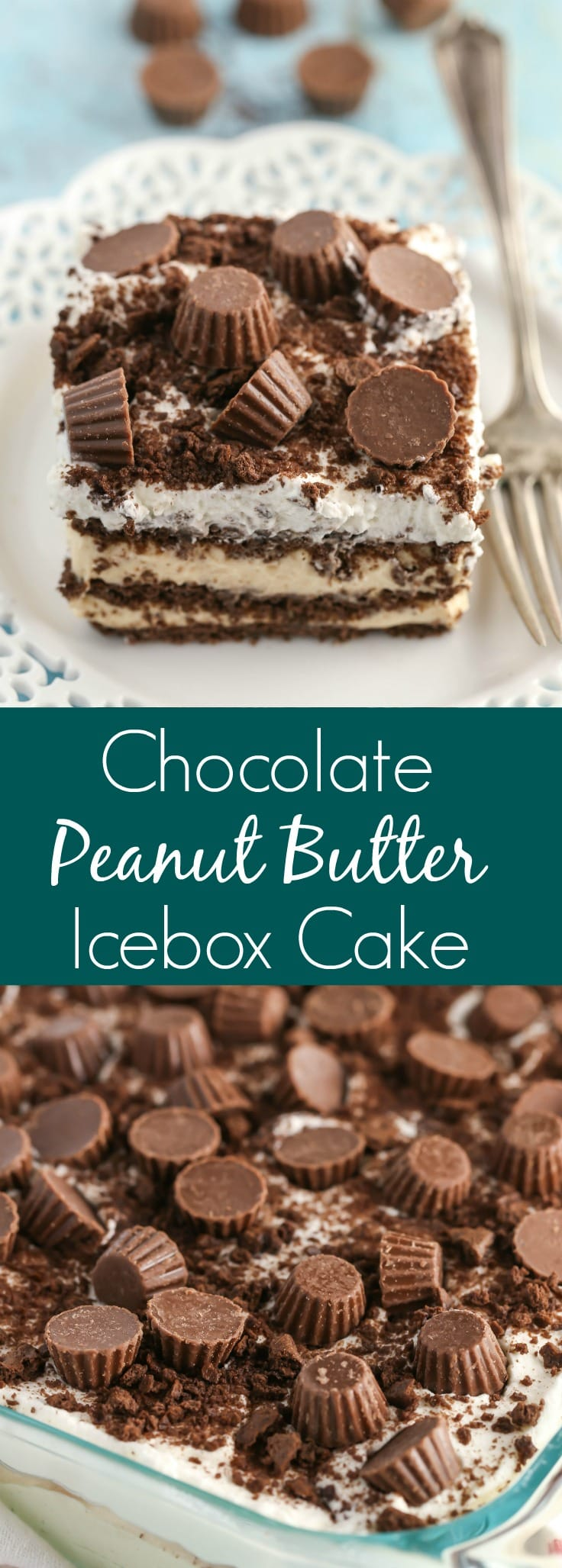 Layers of chocolate graham crackers and a creamy peanut butter filling topped off with whipped cream and mini peanut butter cups! This Chocolate Peanut Butter Icebox Cake is an easy and delicious no-bake dessert.