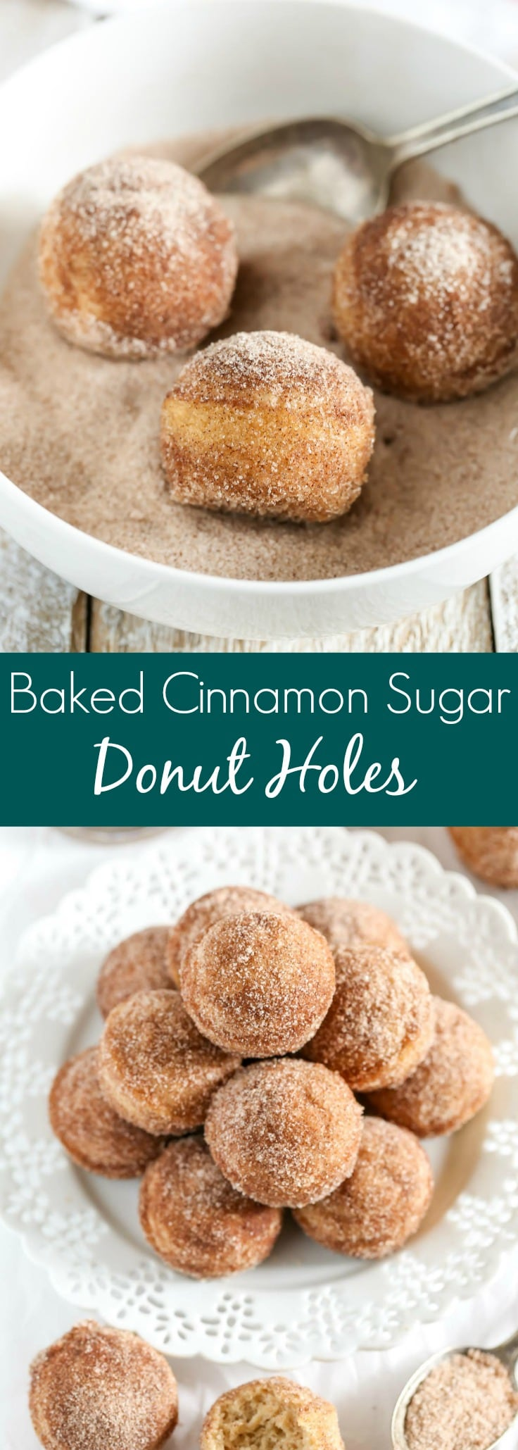 Baked Cinnamon Sugar Donut Holes Pinterest Collage