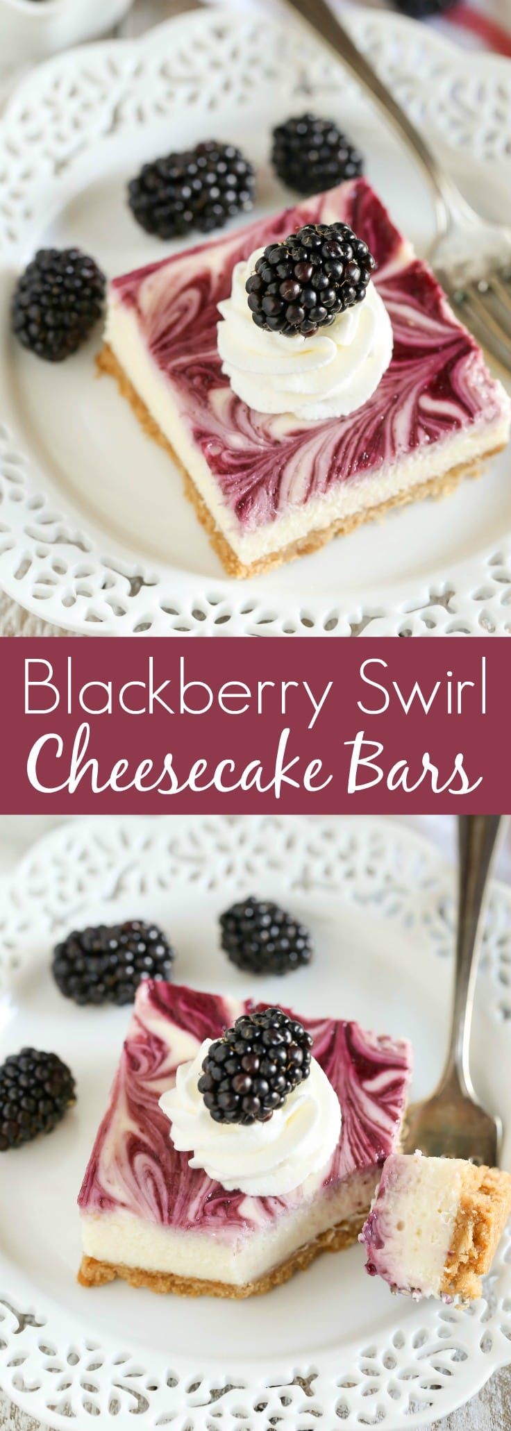 A homemade graham cracker crust topped with a smooth and creamy cheesecake filling and blackberry swirl. These Blackberry Swirl Cheesecake Bars make a gorgeous and delicious dessert!