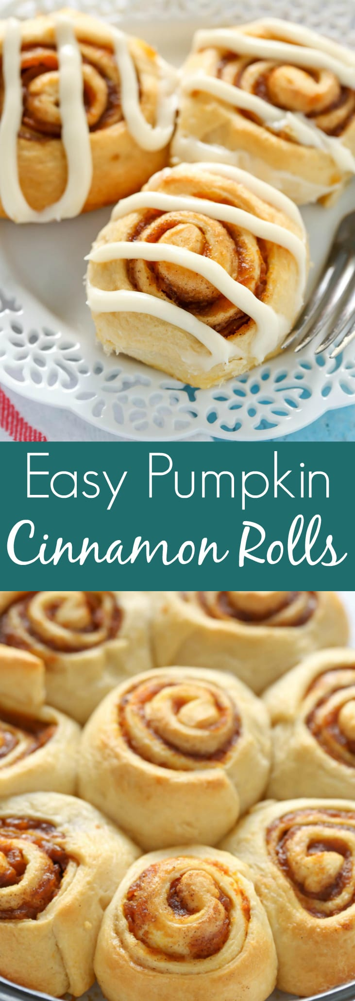 Easy Pumpkin Cinnamon Rolls made with crescent roll dough and topped with a homemade cream cheese frosting. The perfect fall breakfast!