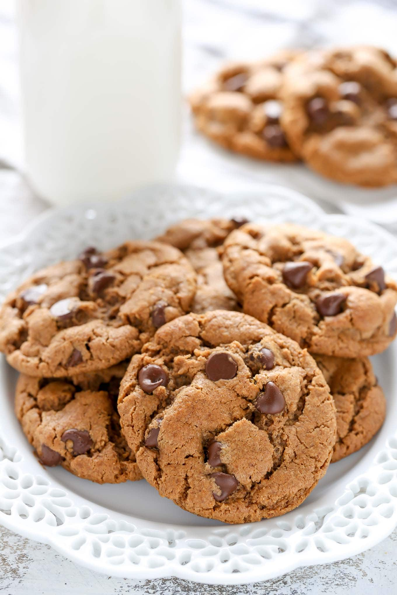 These easy Flourless Almond Butter Chocolate Chip Cookies have no butter or flour! These cookies are also sweetened with coconut sugar and are perfect for a healthier dessert.