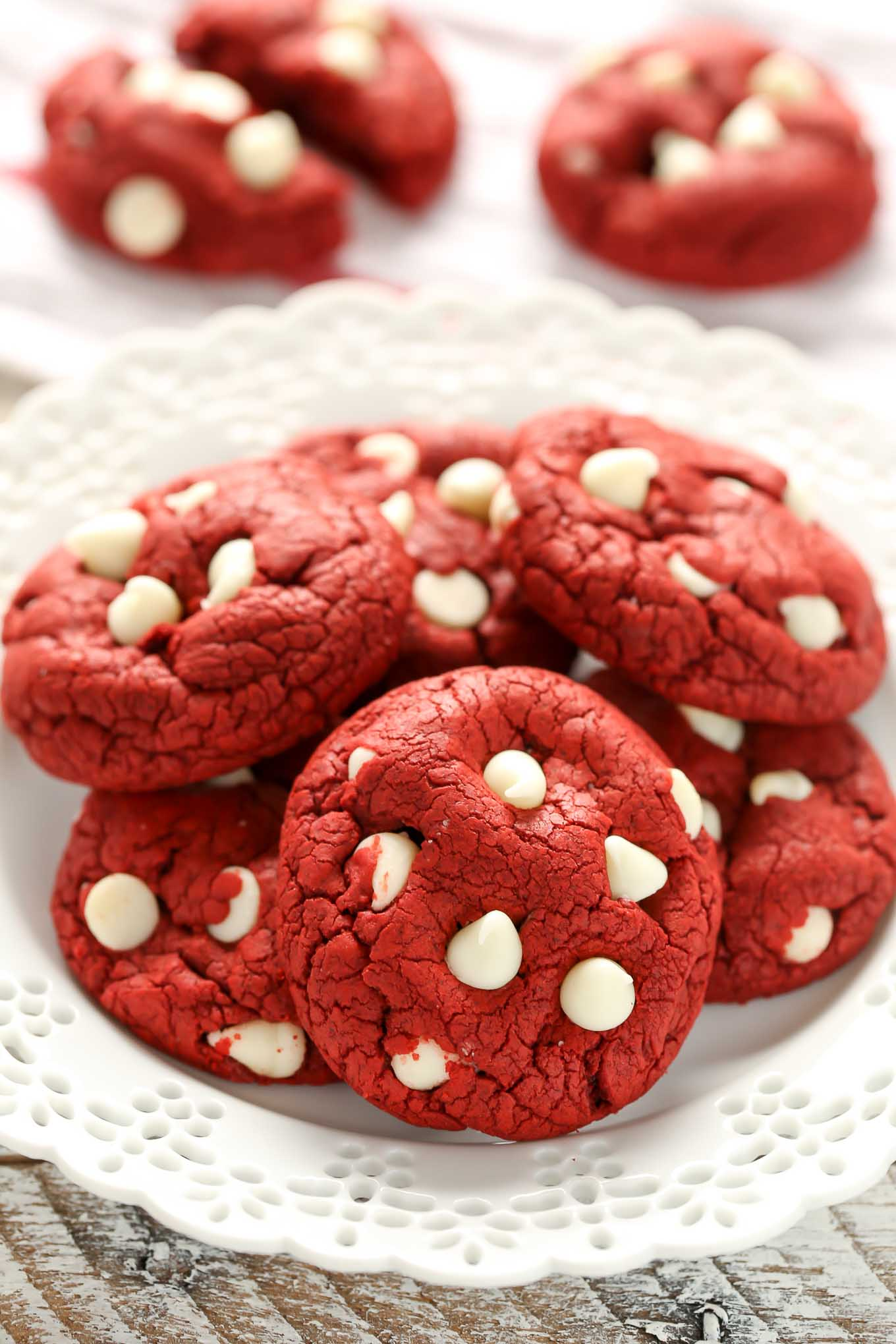 These Easy Red Velvet Cake Mix Cookies only require 4 simple ingredients and are ready in less than 30 minutes. These cookies are the perfect easy treat for Valentine's Day too!