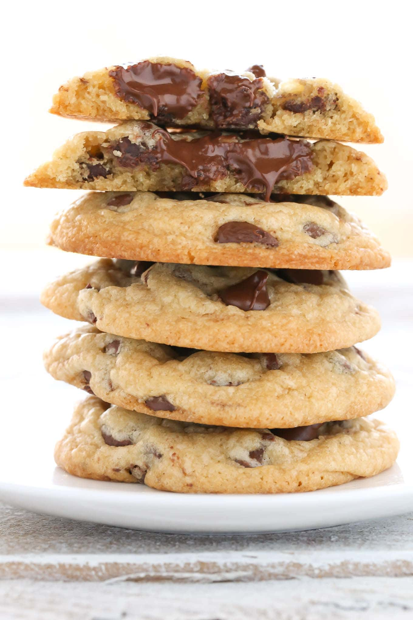 These chocolate chip cookies are extra soft, thick, and chewy. This is my FAVORITE recipe for chocolate chips cookies and they always turn out perfect every time!