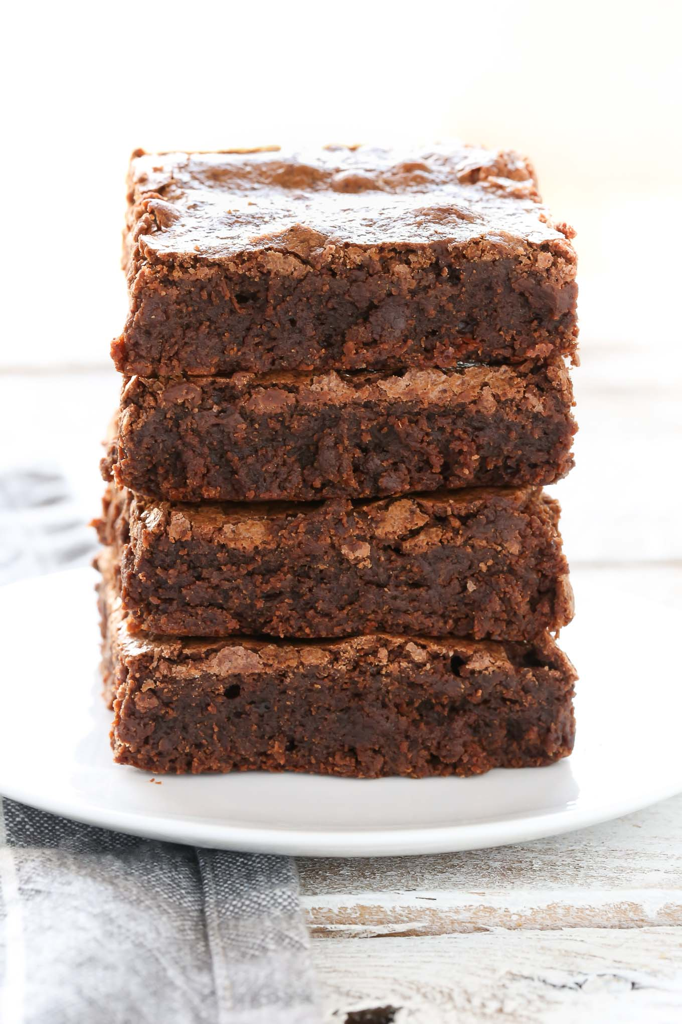 An easy recipe for homemade fudgy brownies made in one bowl with just a few simple ingredients!