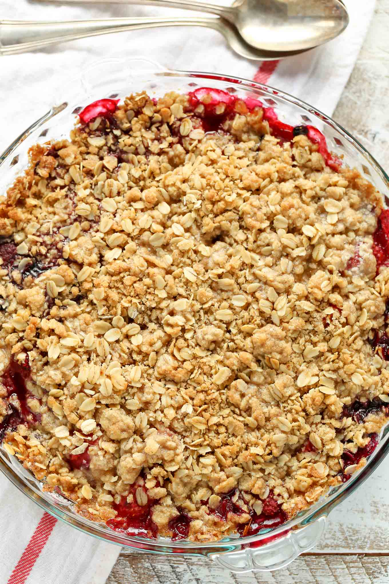 An easy mixed berry crisp that's made with frozen fruit and can be enjoyed all year long!
