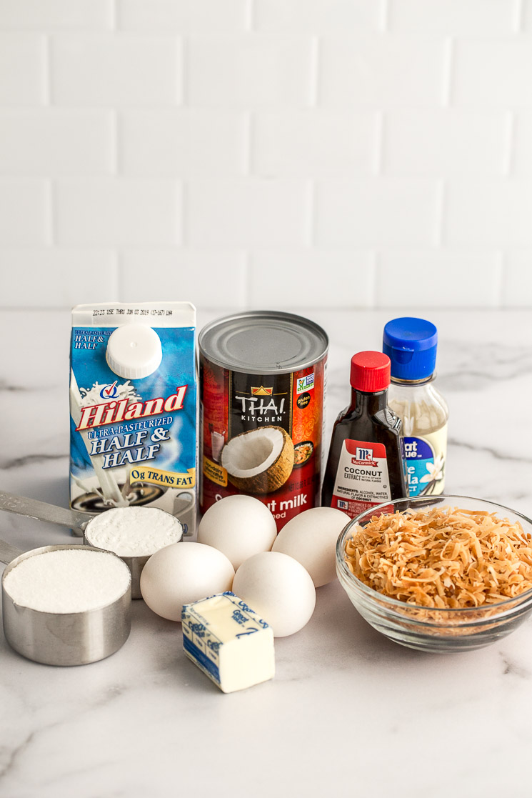 The ingredients needed for a homemade coconut cream pie.