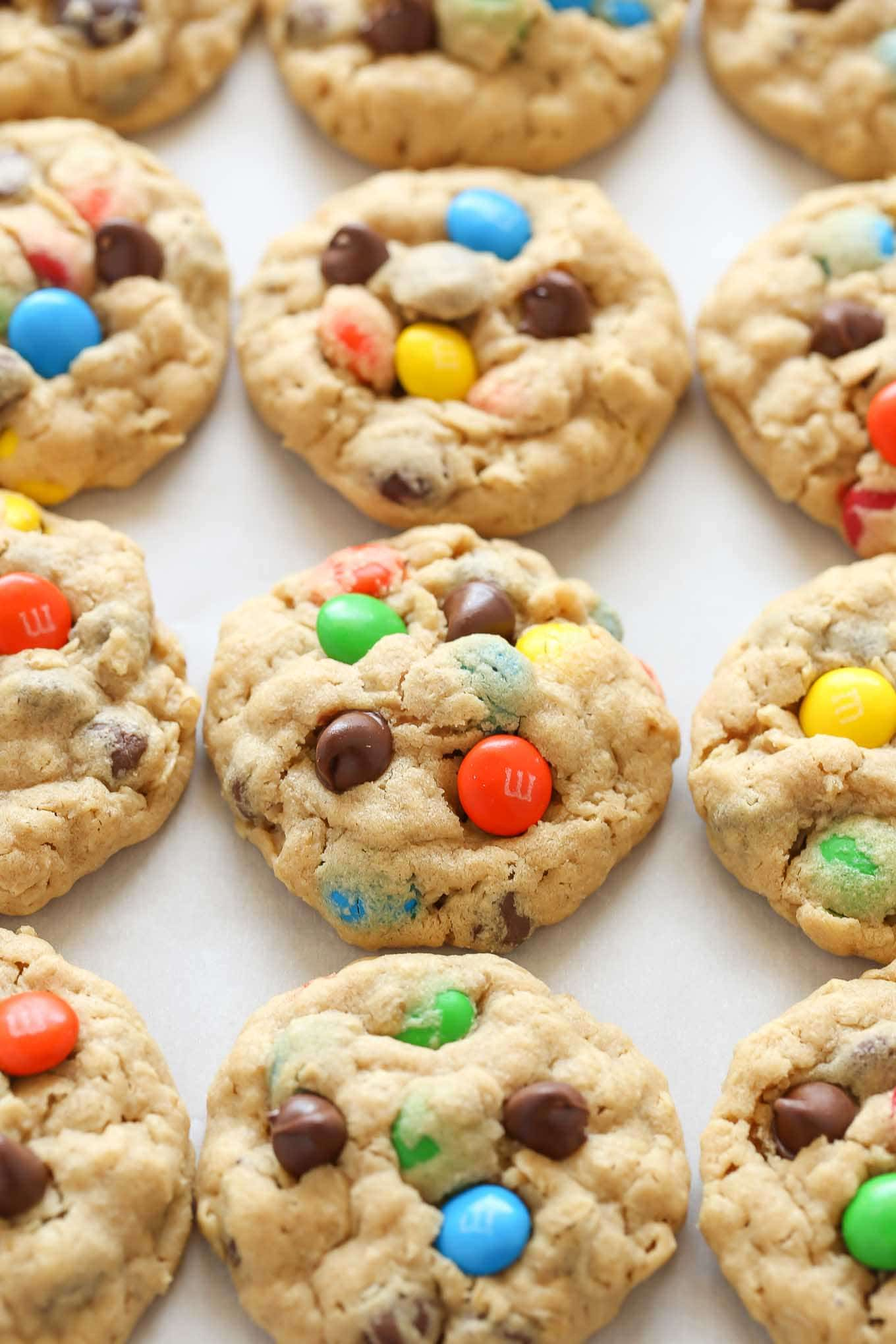 Peanut butter oatmeal cookies packed with m&m's and chocolate chips. These monster cookies are incredibly soft, chewy, thick, and so easy to make!