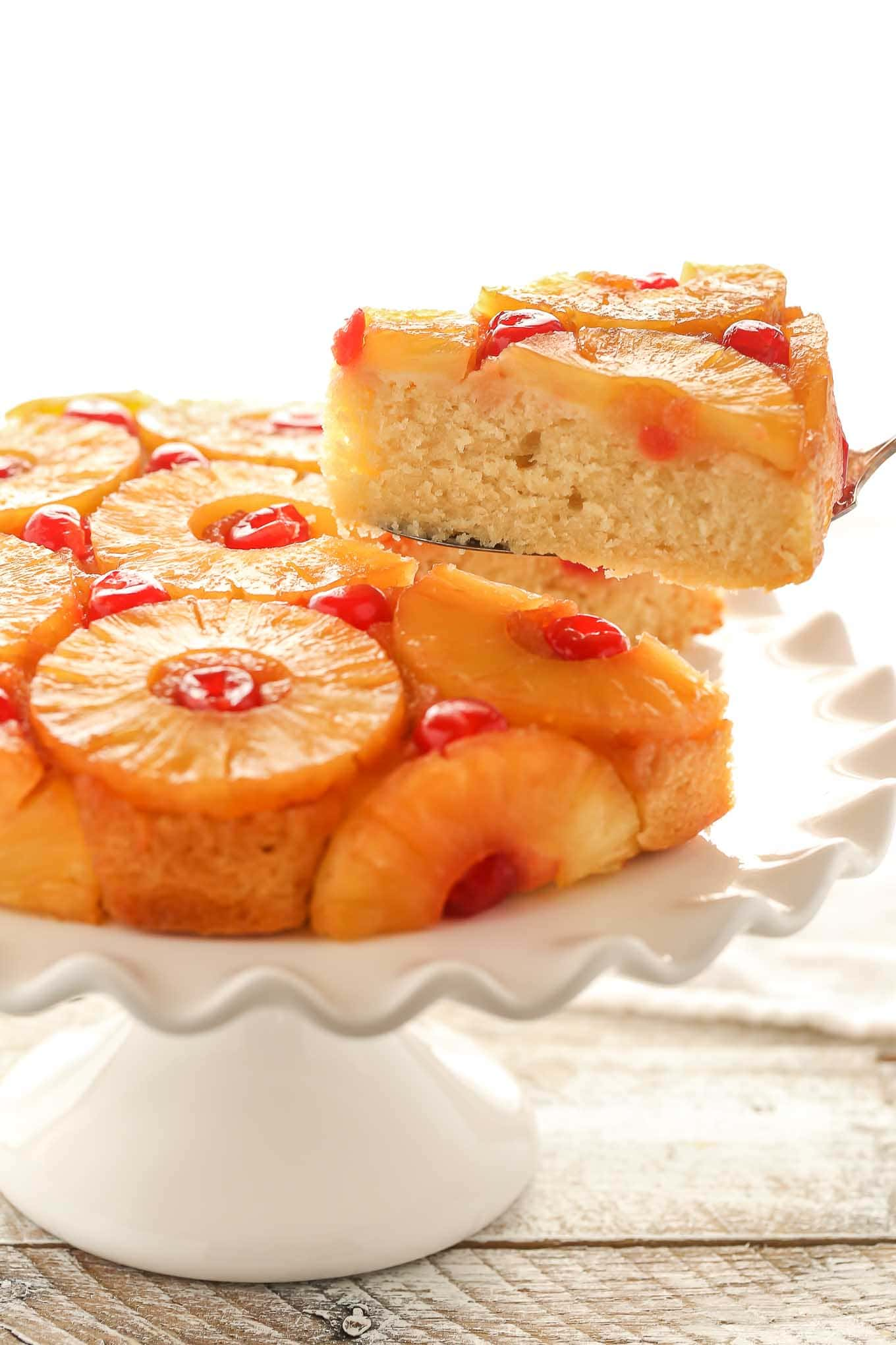 This homemade Pineapple Upside-Down Cake features a caramelized pineapple topping and an incredibly buttery, moist cake.
