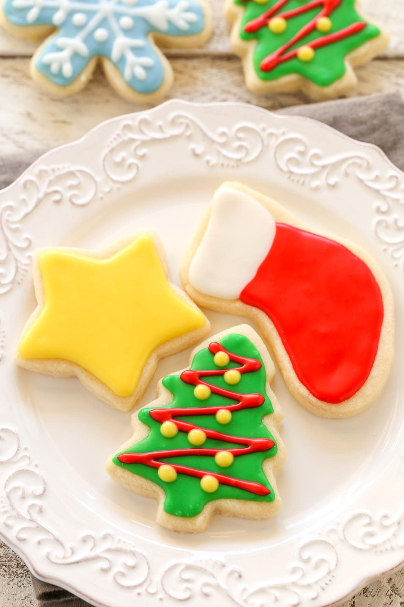 super soft cut out sugar cookies decorated with an easy 4 ingredient icing - Decorations For Christmas Sugar Cookies