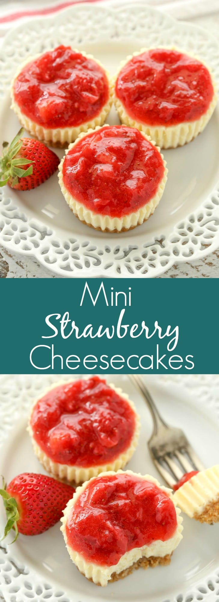 These Mini Strawberry Cheesecakes feature an easy homemade graham cracker crust topped with a smooth and creamy cheesecake filling and strawberry sauce. Perfect for an easy spring or summer dessert!