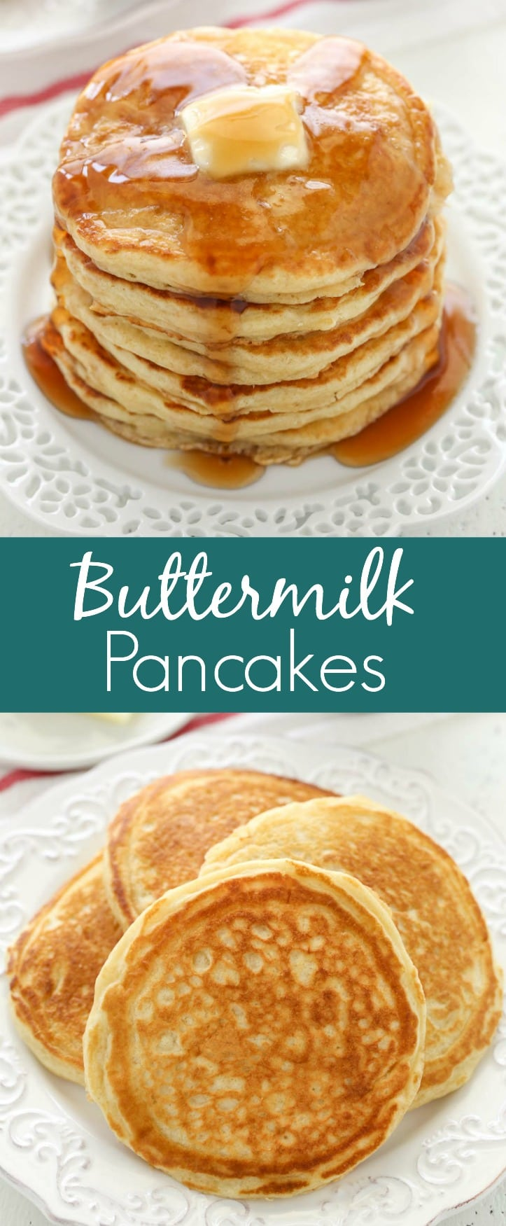 These light and fluffy buttermilk pancakes are so easy to make and turn out perfect every single time. Perfect for breakfast, brunch, or even dinner!