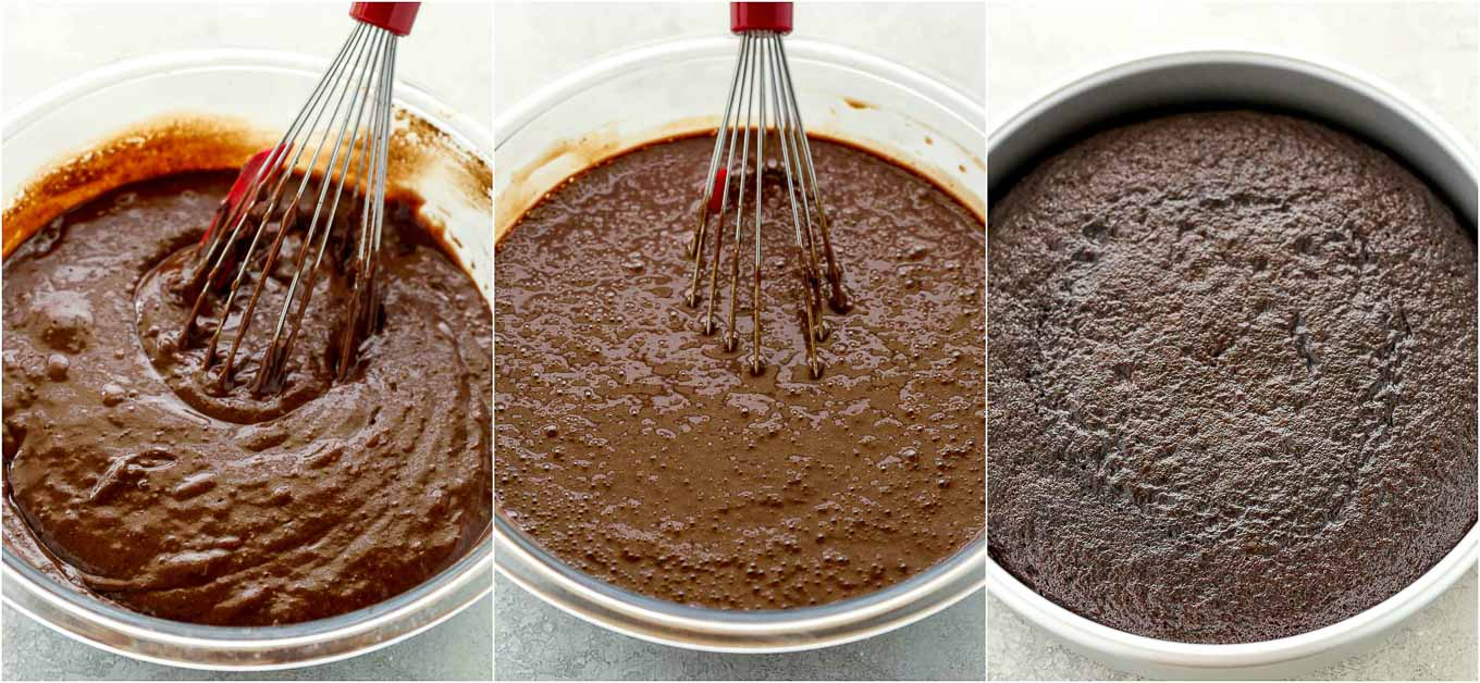 A collage image showing the wet ingredients being added to the dry ingredients and the chocolate cake baked in a pan.