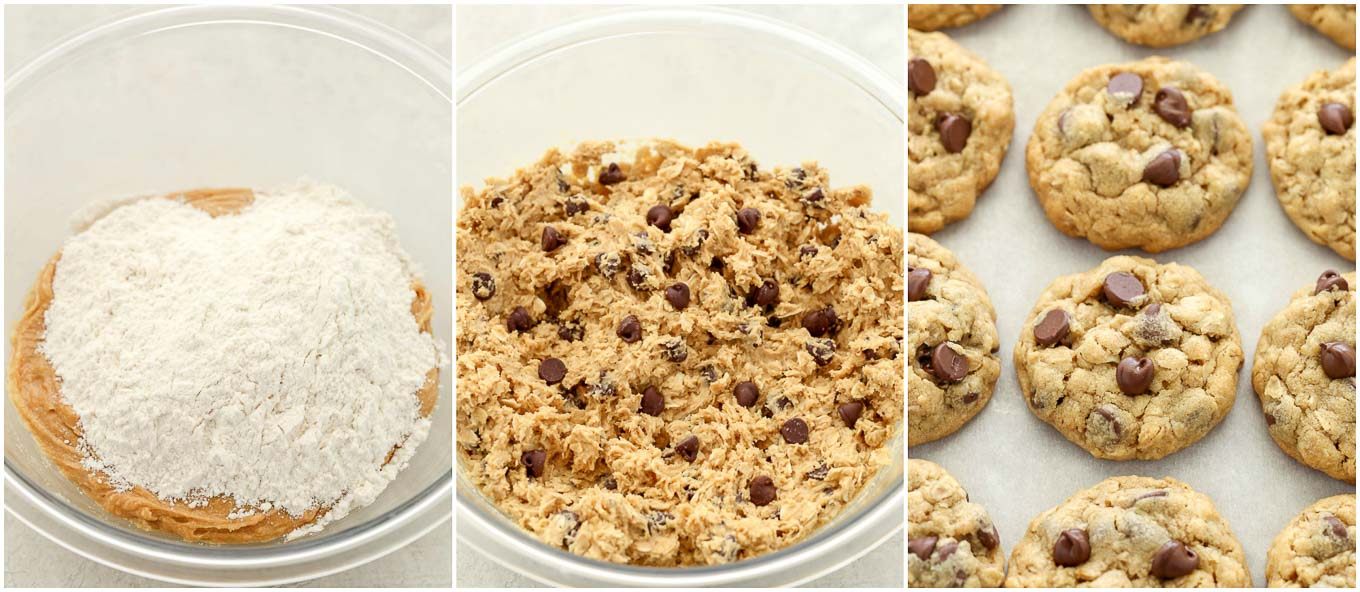 A collage image of the peanut butter oatmeal cookie dough mixed together and baked.