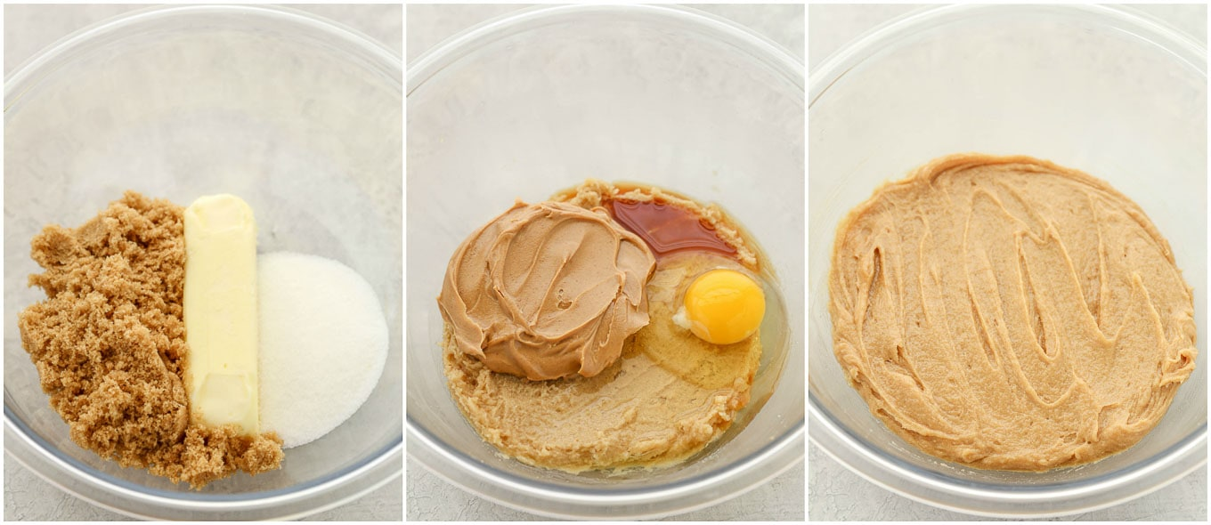 A collage image showing how to mix the wet ingredients together.