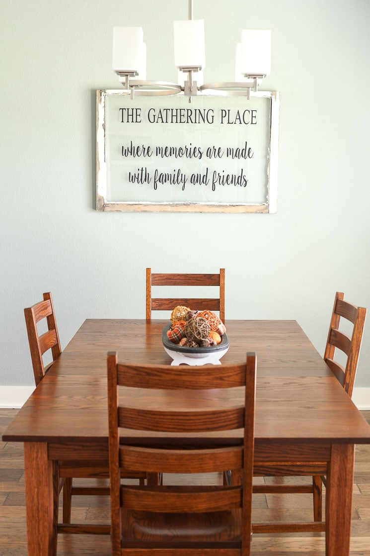 A picture of a table in a dining room.