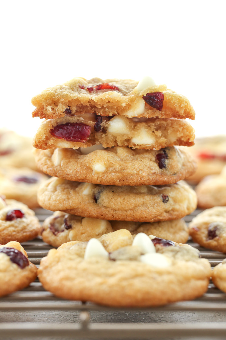 These White Chocolate Cranberry Cookies are incredibly thick, soft, chewy, and full of white chocolate chips and dried cranberries. Perfect for your holiday cookie tray!