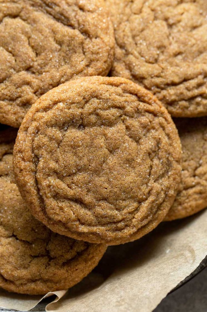 A close up image of a ginger molasses cookie.
