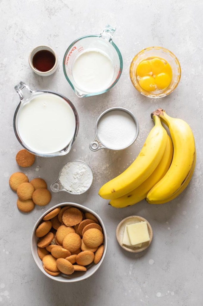 Overhead view of the ingredients needed to make homemade banana pudding.