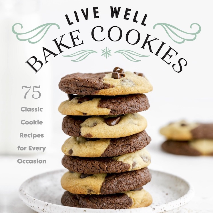 The cover of the cookbook Live Well Bake Cookies featuring a stack of brookies on a plate.