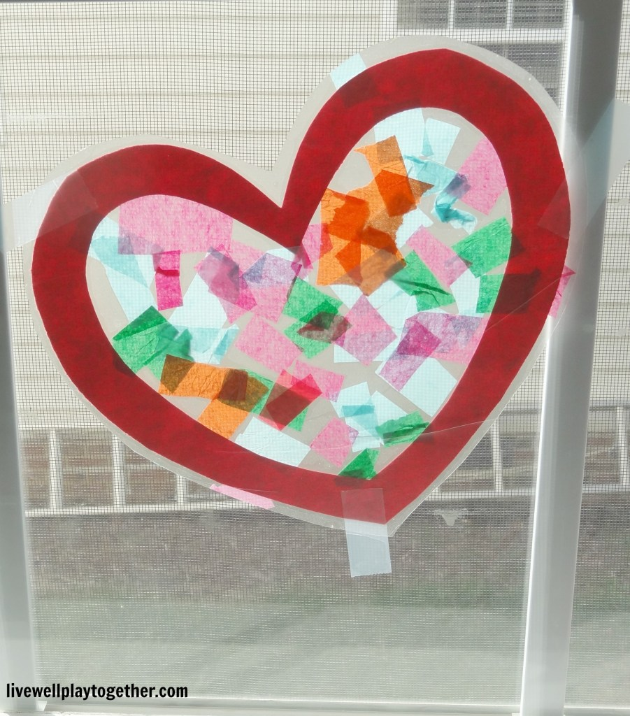 Easy Valentine's Day Craft for Toddlers and Preschoolers - Tissue Paper Heart Suncatchers