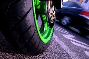 Kawasaki wheel with speed blur