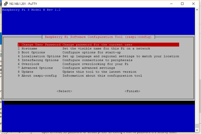 Screenshot of raspi-config