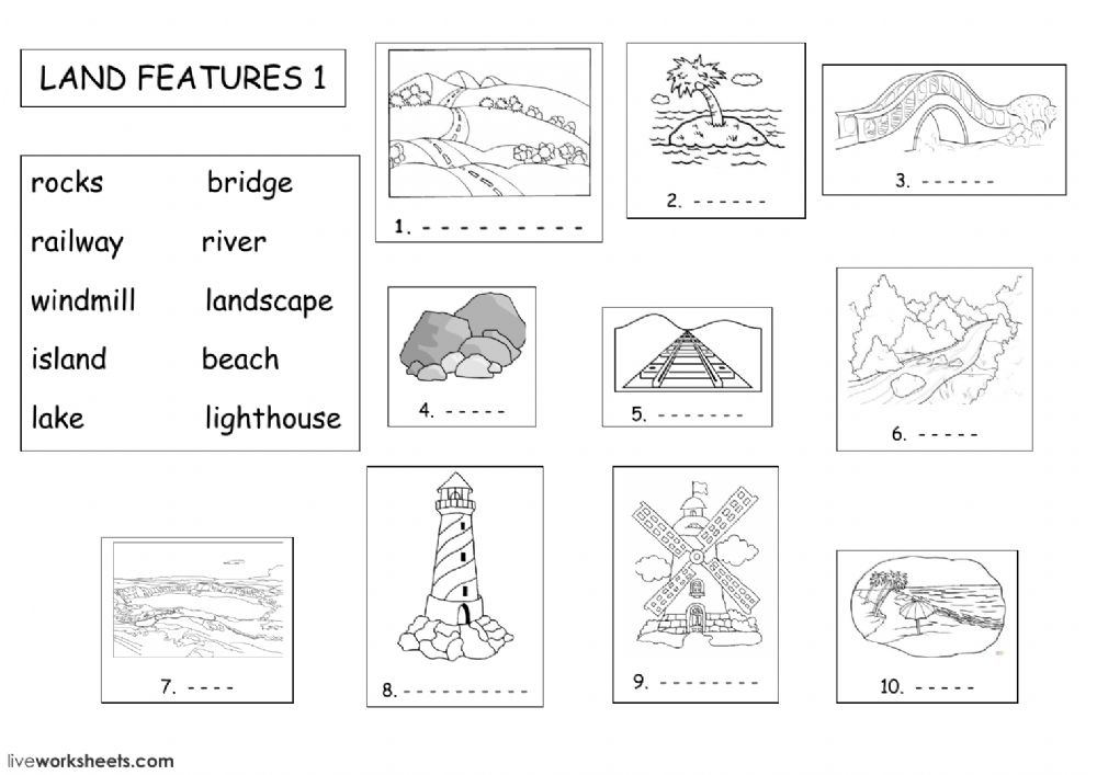 Land Features Land Forms Worksheet