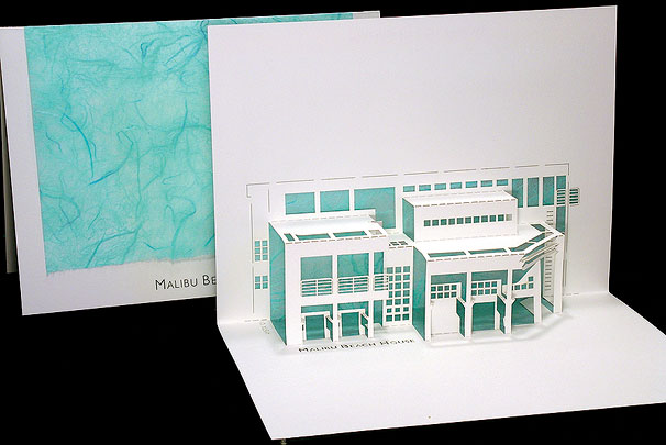 Malibu Beach House Origami Architecture Pop Up Cards By