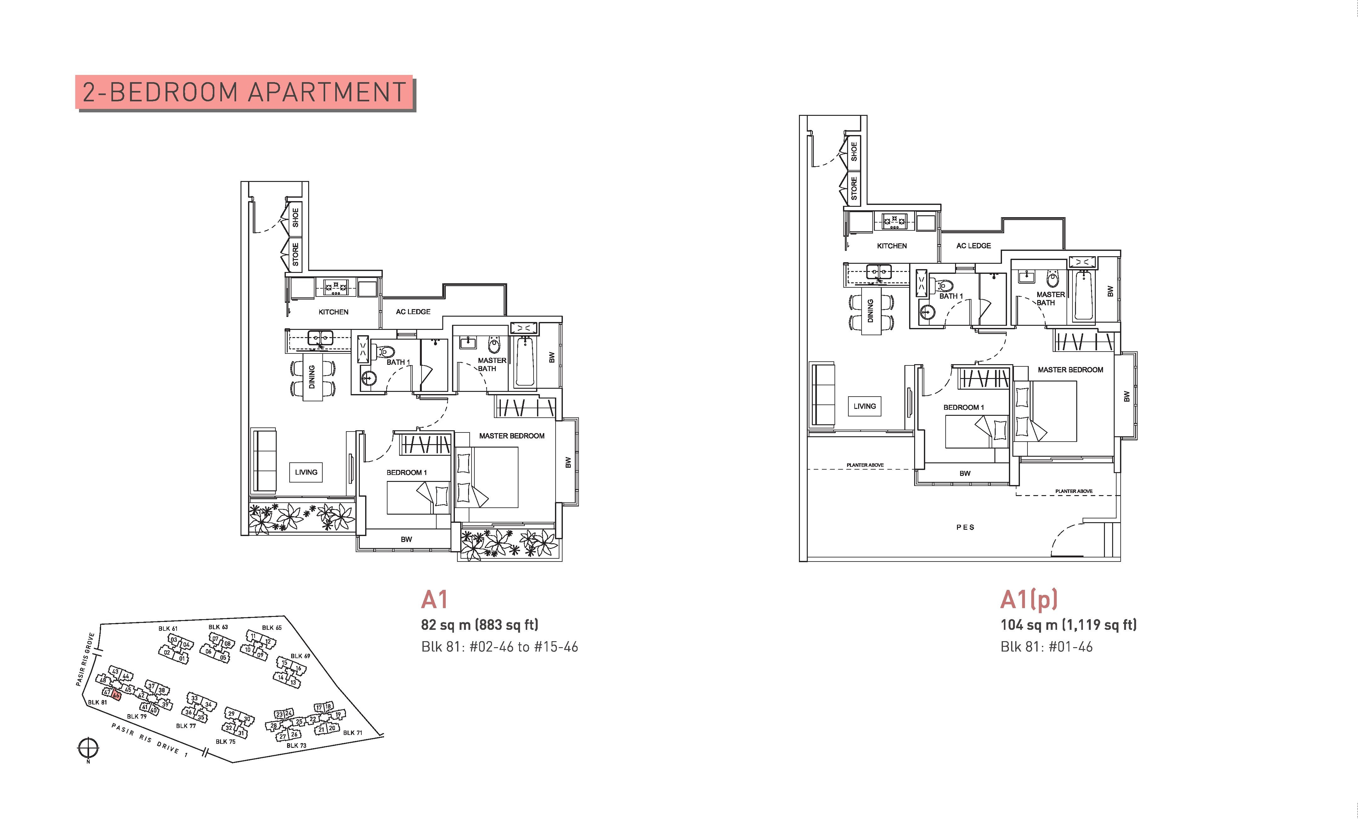 Livia 2 Bedroom Floor Plans Type A1 and A1(p)