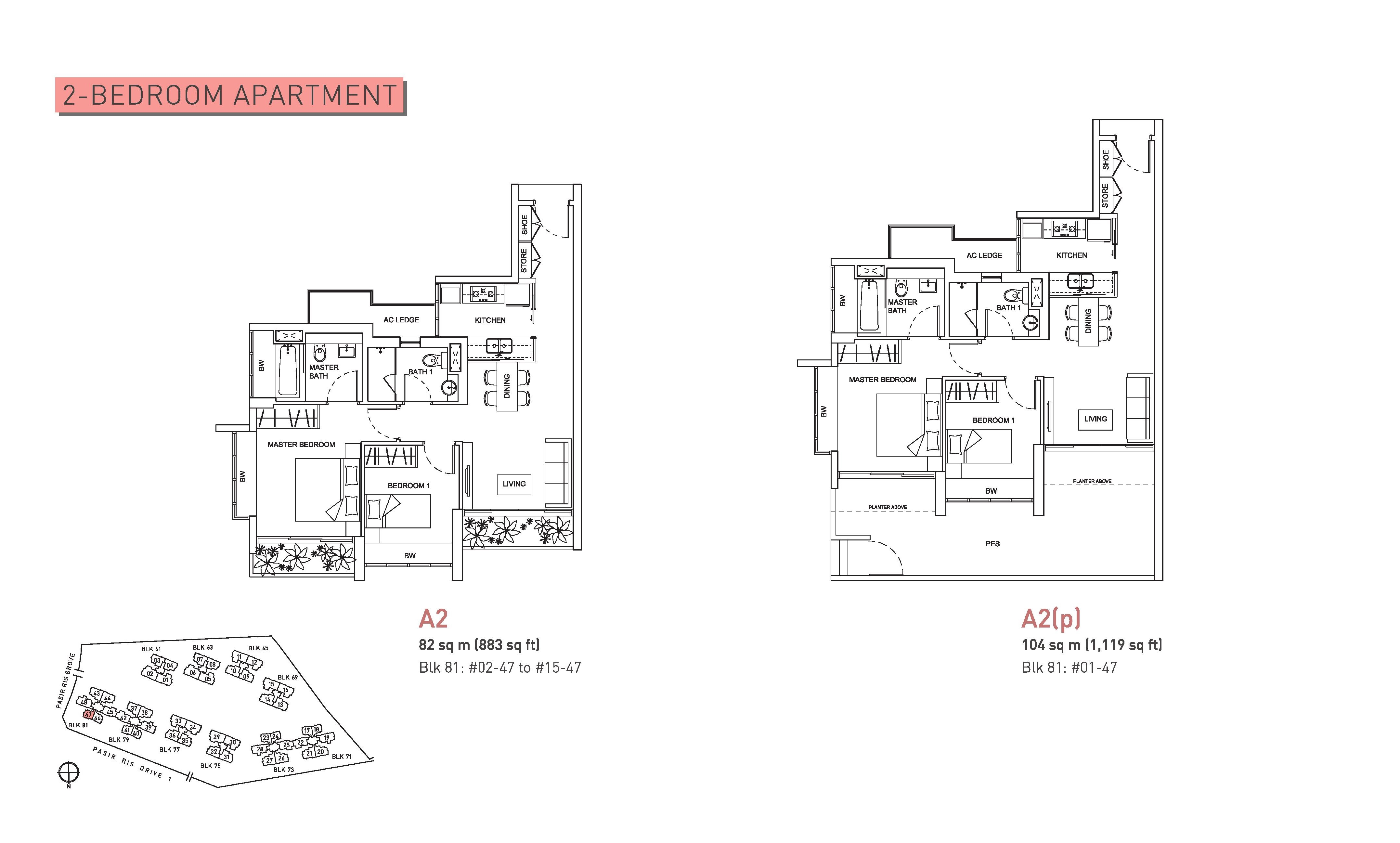 Livia 2 Bedroom Floor Plans Type A2 and A2(p)