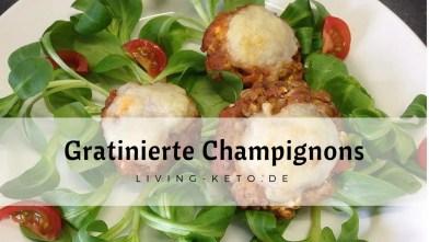 Gefüllte gratinierte Champignons mit Bolognese und Feta
