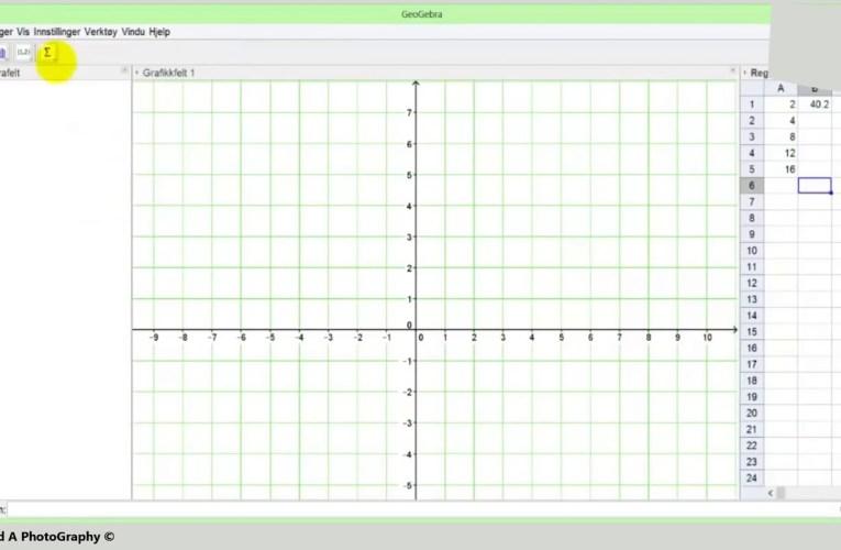 الدرس الرابع في الجيوجبرا طريقة استخراج معادلة خطيّة_ Geogebra Lineær Regresjon