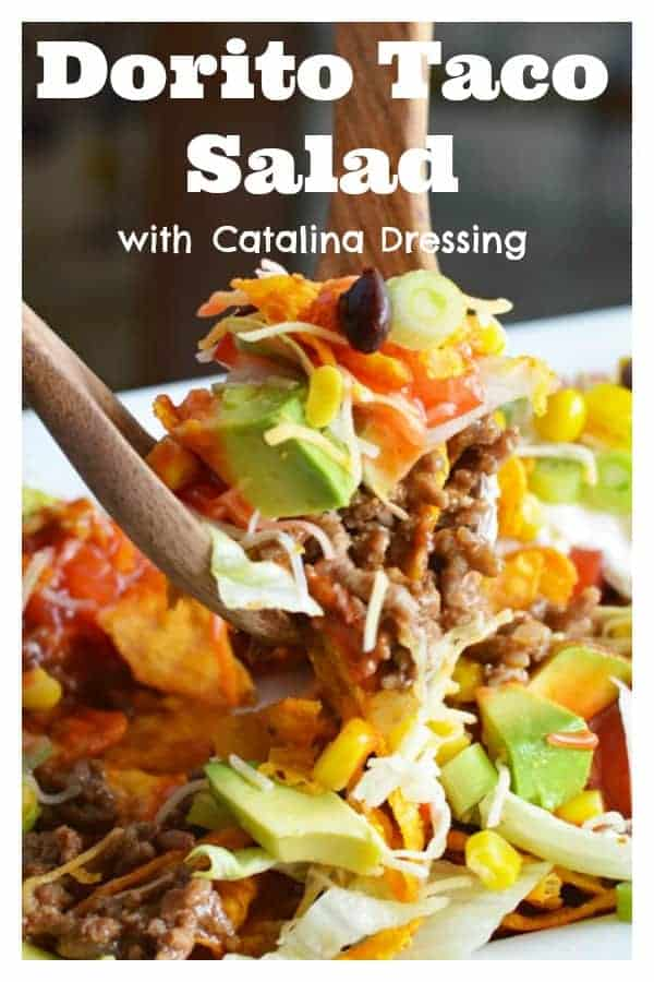 You will love this Vegan Dorito Taco Salad Recipe with Catalina Dressing! Did you know that the Spice Sweet Chili Doritos are accidentally vegan? Combined with our homemade Catalina Dressing and vegan sour cream, you get that salty/sweet combination that I absolutely live for! Get the full recipe here ---> https://www.living-vegan.com/vegan-dorito-taco-salad-recipe-with-catalina-dressing/ #vegan #vegetarian #doritos #sweetspicychili #doritostacosalad #doritotacosaladrecipe #nachosalad #nachos