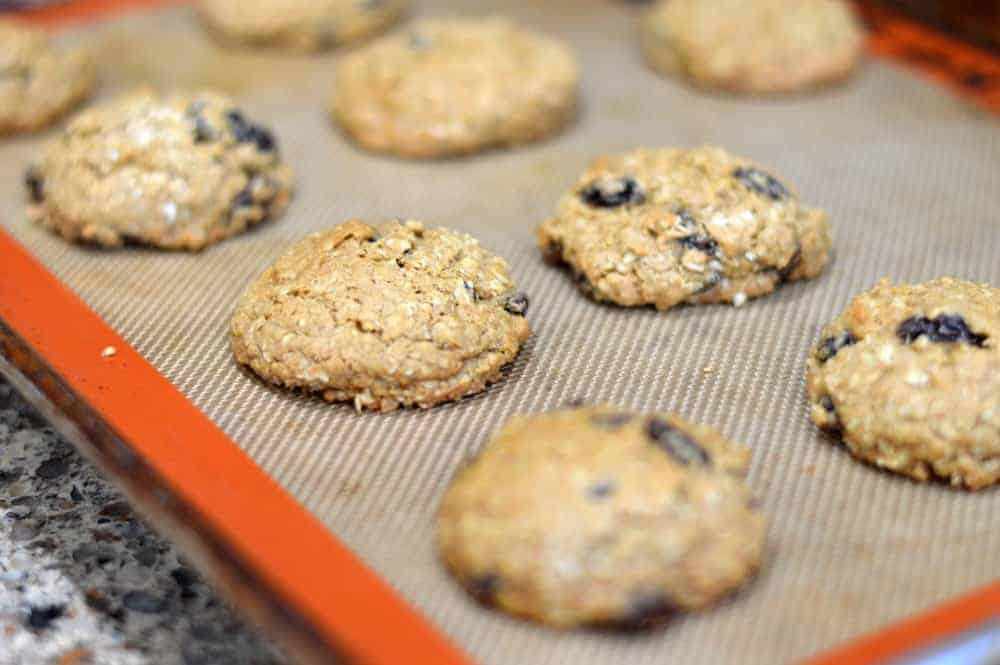 Baked Big & Chewy Vegan Oatmeal Raisin Cookies on a silpat