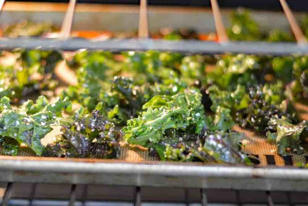 Baking the Everything But The Bagel Kale Chips