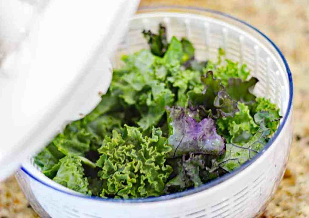 Kale in a salad spinner