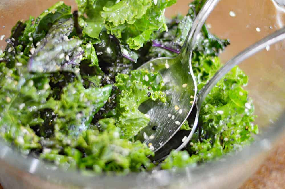 Toss the kale with everything bagel seasoning