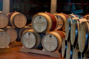 The barrels where the wine is aged.