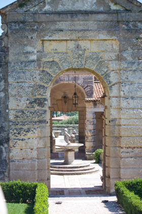 The off centre symmetry of the bridge and courtyard