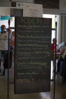The menu for Puglia's restaurant in Eataly