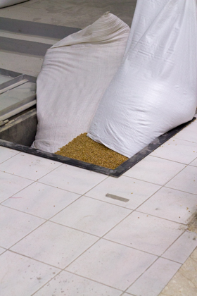 Wheat being loaded into a hatch which supplies the mill
