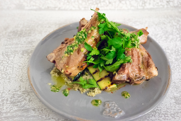 Lamb chops with courgette ribbons, aubergine puree and salsa verde