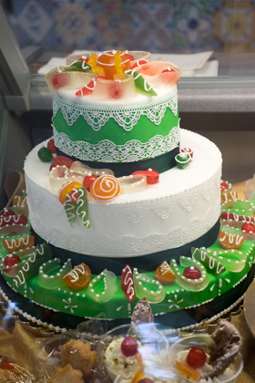 An elaborate cassata (a sponge cake filled with sweetened ricotta, glazed and decorated with candied fruit)