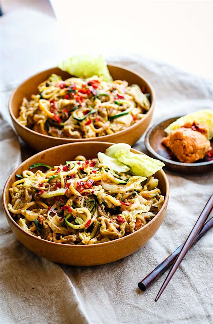 Cashew Satay Spiralized Vegetable Stir Fry