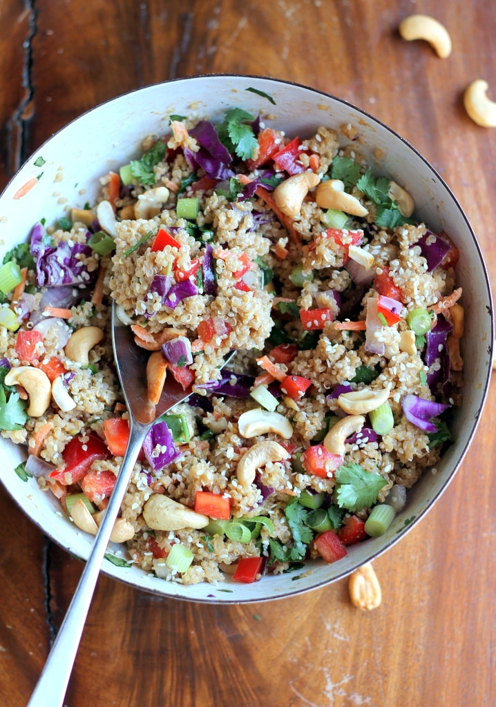 Crunchy Cashew Thai Quinoa Salad with Ginger Peanut Dressing