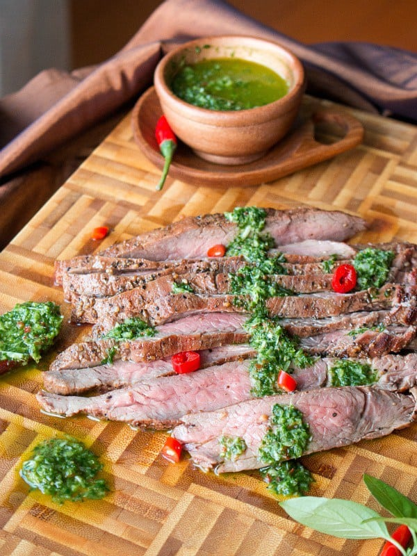Grilled Flank Steak with Thai Style Chimichurri