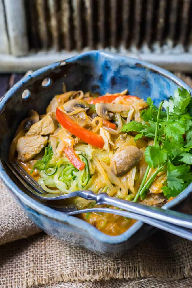 Simple Thai Chicken Red Curry with Zoodles