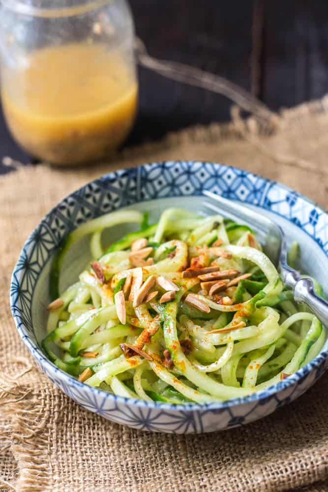 Cucumber Noodles with Sun-Dried Tomato Vinaigrette Featured