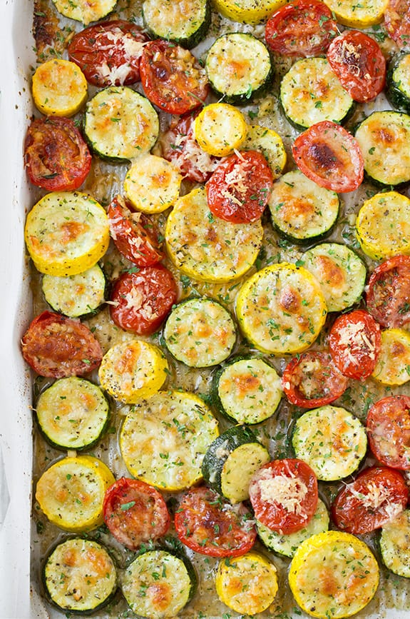 Roasted Garlic Parmesan Zucchini Squash and Tomatoes